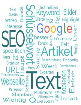 Werbeagentur DieErfolgsbringer - SEO Texte schreiben lernen - Wordcloud